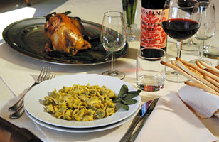 Traditional local dishes and Langa wines